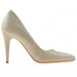 Women stylish, elegant shoes 1246 patent beige