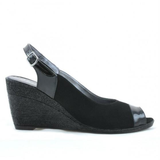 Women sandals 5019 patent black+black velour