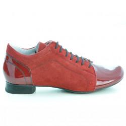 Pantofi casual dama 645 lac rosu combinat