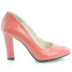 Women stylish, elegant shoes 1214 patent red coral