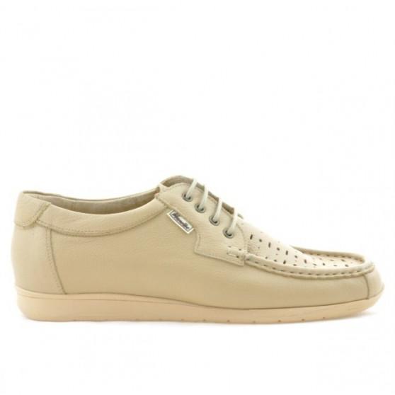 Men loafers, moccasins 818p beige perforat