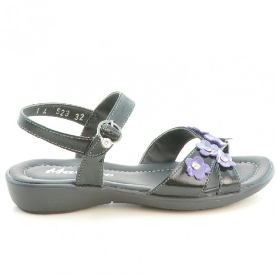 Children sandals 523 patent black+purple