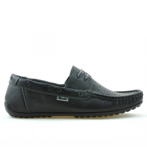 Men loafers, moccasins 778p black perforat