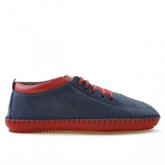 Men loafers, moccasins 864 indigo+red