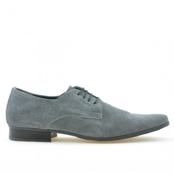 Men stylish, elegant shoes 786 gray velour