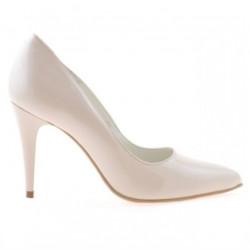 Women stylish, elegant shoes 1246 patent ivory