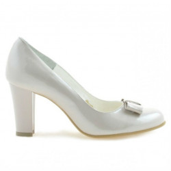 Women stylish, elegant shoes 1245 patent beige pearl