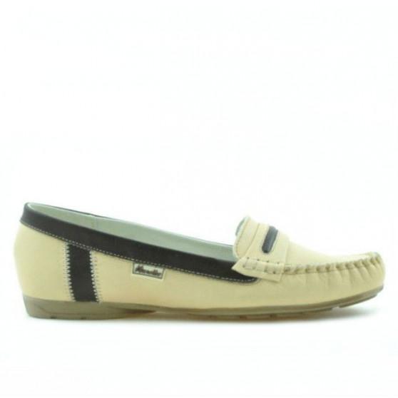 Women loafers, moccasins 619 beige+cafe