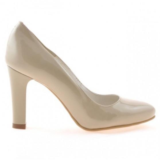 Women stylish, elegant shoes 1243 patent beige