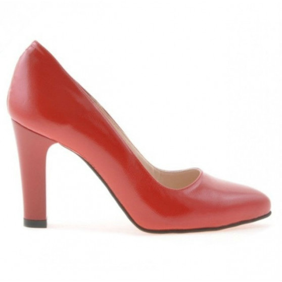 Women stylish, elegant shoes 1243 patent red satinat
