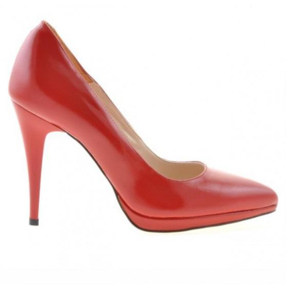 Women stylish, elegant shoes 1244 patent red satinat