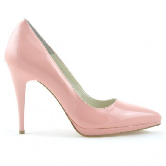 Women stylish, elegant shoes 1244 patent pink