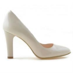 Women stylish, elegant shoes 1243 patent ivory