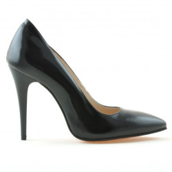 Women stylish, elegant shoes 1241 patent black satinat