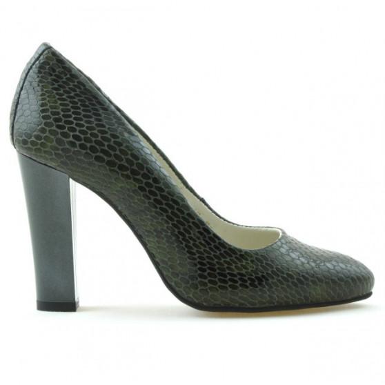 Women stylish, elegant shoes 1214 croco green