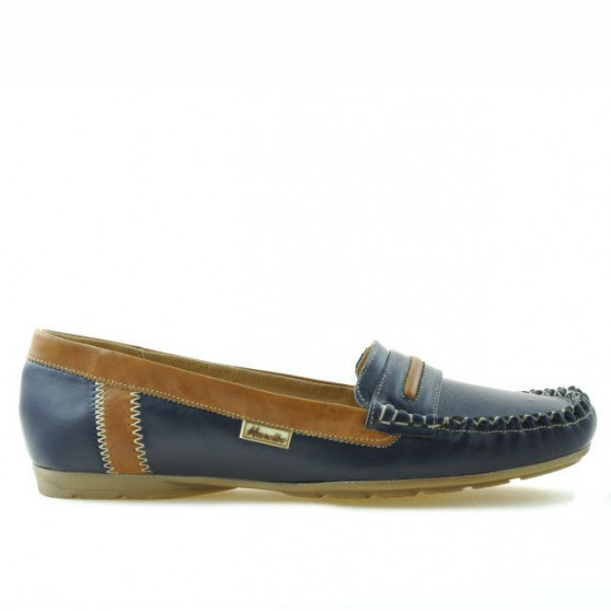 Women loafers, moccasins 619 indigo+brown