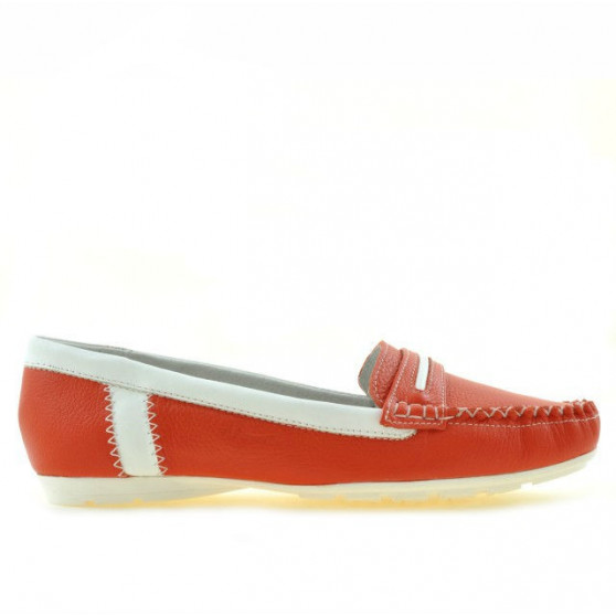 Women loafers, moccasins 619 red coral+white