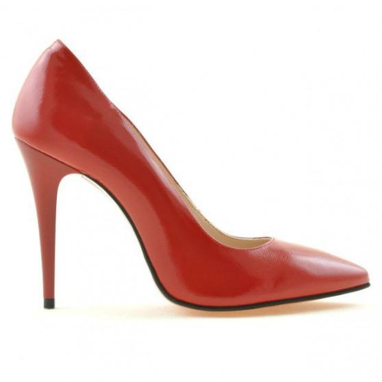 Women stylish, elegant shoes 1241 patent red satinat