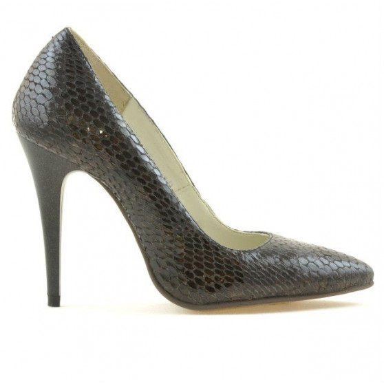 Women stylish, elegant shoes 1241 croco brown