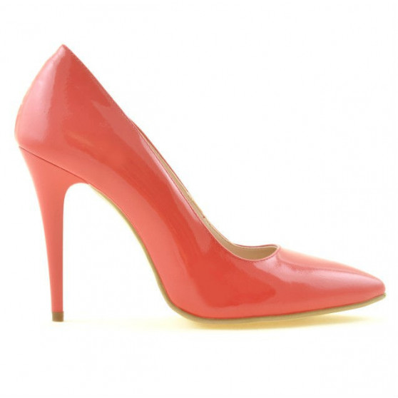 Women stylish, elegant shoes 1241 patent red coral
