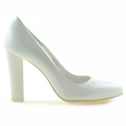 Women stylish, elegant shoes 1214 patent white